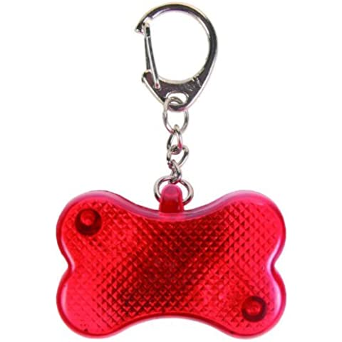 SODIAL(R) Intermitente Forma Flasher Intermitente Led Cat Bone perro Tag Seguridad Mascotas Collar