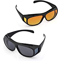 Cpixen New HD Vision Men's Car Driving Wrap Sunglasses (ST Of 2_ Brown, Black)