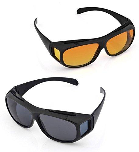 Cpixen New HD Vision Men's Car Driving Wrap Sunglasses (ST Of 2_ Brown, Black)