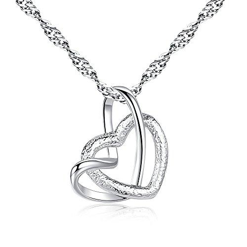 Quaan-Home Kette Damen,Liebhaber Geschenk 925 Sterling Silber Kette ZHULERY Romantisches Märchen Herzförmige Halskette Geschenk für Damen Geschenkverpackung 45+5cm Verlängerungskette