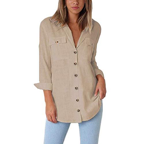 Damen Blusen Ronamick Frauen lose Taste langes Hemd Kleid Baumwolle Damen Casual Tops T-Shirt Bluse (Khaki, M)