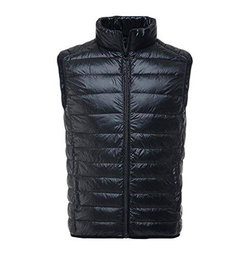 YOUJIA Chalecos exteriores - Hombre Chaqueta de pluma - Planicie Ligero Cálido Abrigo de Invierno (Negro, L)