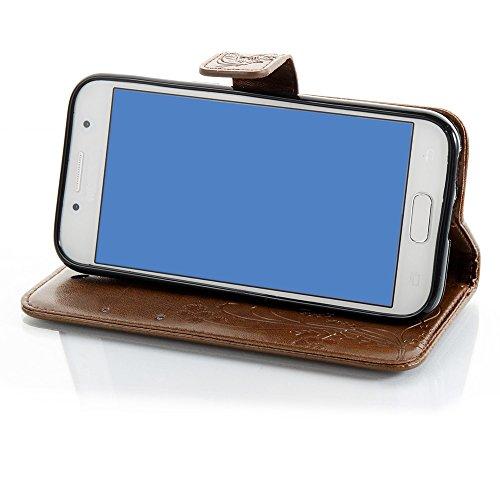 EKINHUI Case Cover Solid Color Faux Leder Bookstyle Brieftasche Stand Case mit geprägten Flower & Lanyard & Card Slots für Samsung Galaxy A3 2017 ( Color : Brown ) Brown