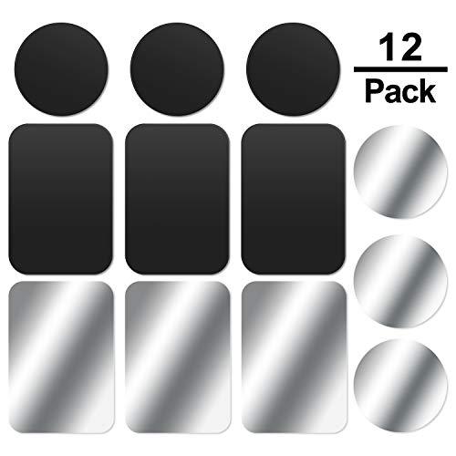 MOSUO 12 Stück Metallplatte Metallplättchen Selbstklebend Set (6 Runde + 6 Rechteck) mit 3M Kleber für Magnet kfz Handyhalter fürs Auto Sehr Dünn Metallplatten für Handy und Tablet, Schwarz + Silber