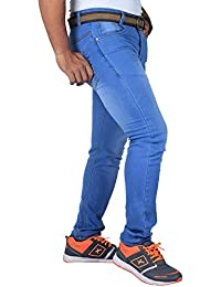 L,Zard Men's Stretchable Fabric Light Blue Slim Fit Jeans