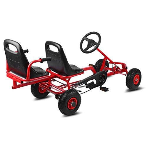 ICOCO 2-Sitz Gokart Rennkart Go Kart Kinderfahrzeug Tretauto Gocart Aufblasbare Luftreifen Kinder Go-Kart 4 Räder Stabile Ausführung 170 x 58 x 78 cm (Rot)
