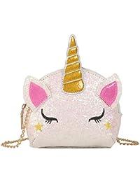 Fancyku- Glitter Unicorn Crossbody Purse Bag Cute Cartoon Unicorn Sequin Crossbody Bag Novelty Unicorn Horn Handbag for Teens Girls Women