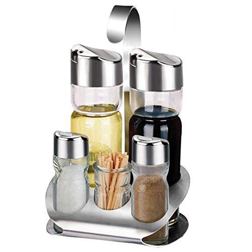 Yxp Kitchen - Spiel Essig Und Öl - Essig Edelstahl Und Glas Öl Öl Salz Und Pfeffer-Öl Und Essig Zwei Abgabe 4 Unzen-Flaschen Und Unterstützung,5pieceset,A -