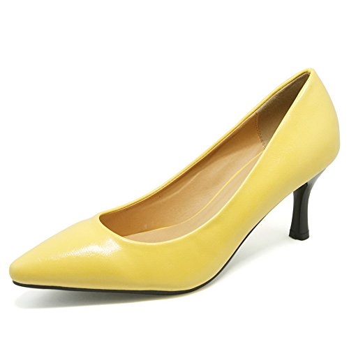 AalarDom Femme à Talon Correct Pointu Couleur Unie Chaussures Légeres Jaune de Citron-Pu Cuir