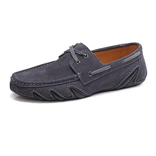 TiandaoMXL Herren Driving Penny Loafers Schnüren Sie Sich aus echtem Leder Boot Mokassins Flache weiche Sohle Kleid Schuhe Schuhe (Color : Grau, Größe : 43 EU) -