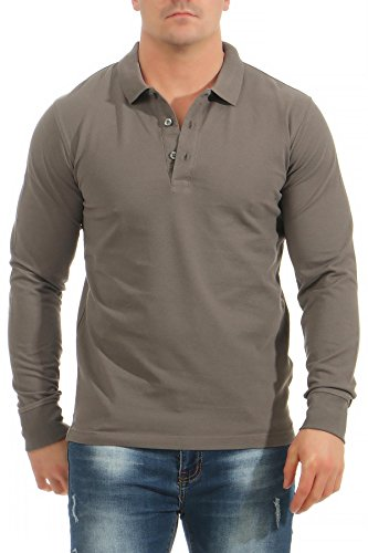 Mivaro Herren Langarmshirt Poloshirt Langarm Hemd Longsleeve Polo Shirt, Größe:XXL, Farbe:Anthrazit