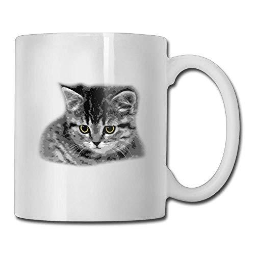 DHIHAS Strong Stability Durable Kaffeebecher Shy Gray Cat Custom Coffee Mugs 11 Oz Office Gift Ceramic Tea Cup -