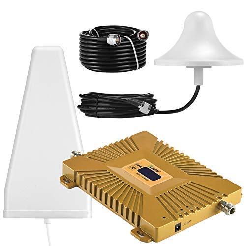 Yuanj Handy Signalverstärker, 900/2100 MHz Band 1/8 für Telefon T-Mobile D1 Vodafone D2, Handynetz Signal Verstärker mit Außenantenne & Omni-Innenantenne - Handy Signalempfang Verstärkung Signal-repeater
