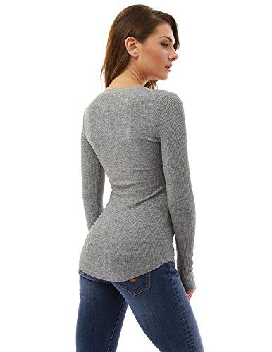 PattyBoutik femmes blouse tunique à manches longues gris clair