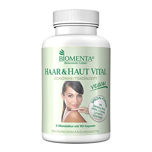 BIOMENTA HAAR & HAUT VITAL | VERBESSERTE REZEPTUR!!! | 3 Monatskur | mit Bambus Extrakt (Silizium), Hirse, L-Cystein, MSM, Lycopin, Biotin, Zink, Selen, Kupfer, B-Vitamine, Vitamin A, C, E | 90 Haar-Haut-Kapseln | VEGAN