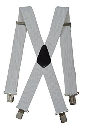 Extra Lange, Extra Breite XXL Hosenträger X-Form mit 4 Starken Clips, Stark Stoff - 5cm. Weiß