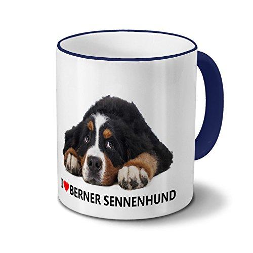 Hundetasse Berner Sennenhund - Tasse mit Hundebild Berner Sennenhund - Becher Blau