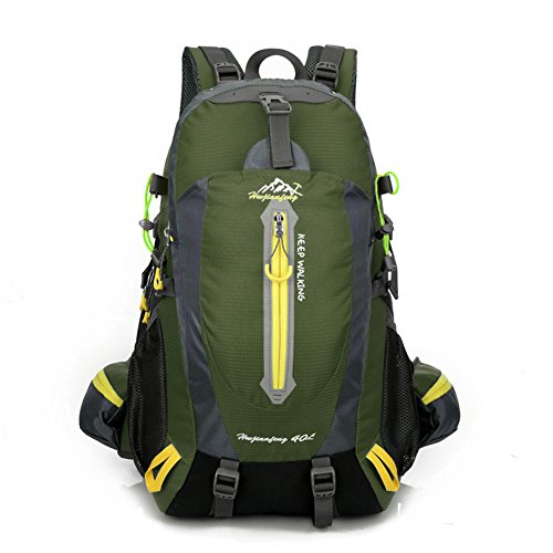 Waterproof Rucksack, 40L Nylon Bag Backpack Flexibilität ist stark Adjustable Breathable Shoulder Perfect for Hiking, Sports, Hiking, Camping, Travelling, Hiking, Climbing, with laptop compartment Armeegrün
