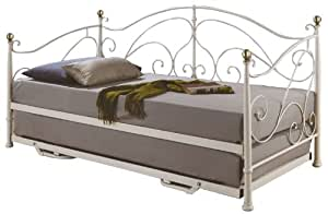 birlea milano 3ft single metal daybed with trundle cream kitchen home. Black Bedroom Furniture Sets. Home Design Ideas