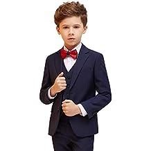 Traje Esmoquin de niños 5 Piezas Slim Fit Vestidos Festivos Infantiles para la comunión de la