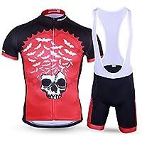 XDXDWEWERT Pantalones de Ciclismo Pantalones de Montar en BIC Traje de Ciclismo para Hombres + pantalón Corto con Relleno 3D Bañador Transpirable y de Secado rápido Negro-Rojo XL