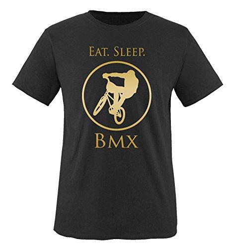 Comedy Shirts - EAT. Sleep. BMX - Kinder T-Shirt - Schwarz/Gold Gr. 122-128 Schwarz-gold-tv-serie