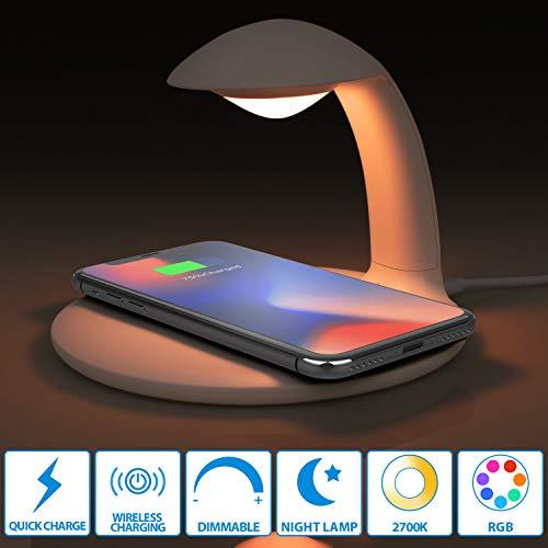 Oeegoo Led Nachttischlampe dimmbar mit Schnellladefunktion, Kabellose Ladegerät, Touch Control Schreibtischlampe, RGB Farbwechsel Stimmungslicht, 10W Qi Wireless Charger für Samsung/iPhone/HUAWEI