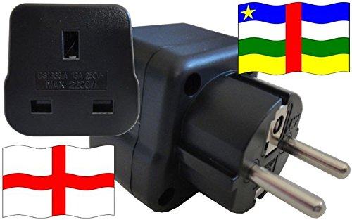 Steckdosenadapter für Zentralafrika - Steckeradapter England mit Schutzkontakt Reise Stecker