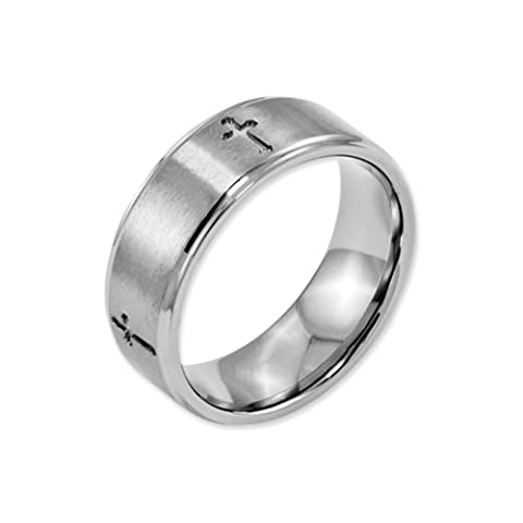 Black Bow Jewellery Company : Stainless Steel Ridged Edge 8mm Cross Band Size Z3