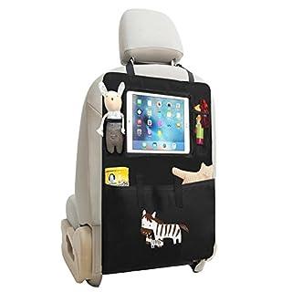 Auto Rückenlehnenschutz Zuoao Rückenlehnenschutz für Auto, Auto Rücksitz-Organizer mit Große Taschen und iPad-/Tablet-Fach für Kinder,1 Stück, Schwarz