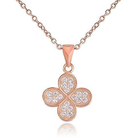 Dormith® Plata de ley 925 rosa de color oro collares AAA circonio cúbico para las mujeres moda joyas Trébol de cuatro hojas colgante de collar rosa chapado en
