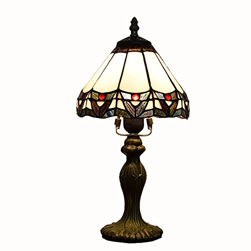 WMING 8 Pulgadas Tiffany Lámpara De Mesa Retro Estilo De Vidrio Teñido Artesanal Clásico Antiguo Patrón Lámpara De Noche De La Lámpara De Cabecera