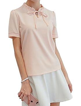 19a97e28e Eineukleid Mujer Blouses Verano Fashion Esbelto Colores Lisos Camisas de  Gasa Tops Casual Cuello V Manga