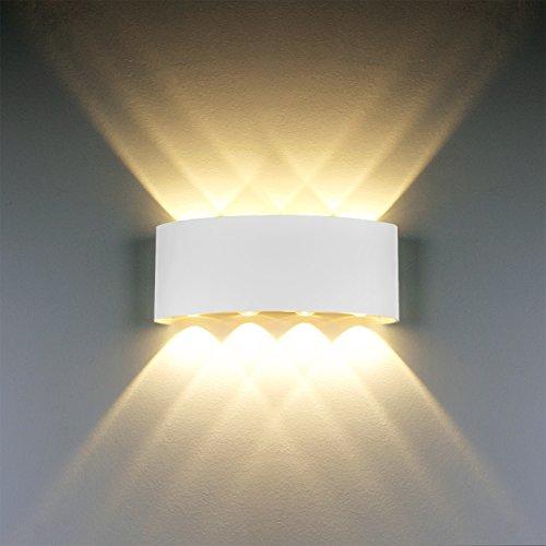 LED Modern Wandleuchte Innen 8W Weiss LED Licht Wandlampe Aluminium Leuchten Wandlicht Wasserdichte IP65 LED Wandbeleuchtung 2700K Warmweiß (Ein Weg, Schraube-treiber)