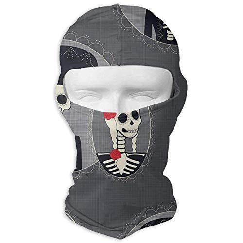 Day of The Dead Sugar Skull Winter Ski Full Face Mask UV Protection Balaclava Hood for Men and Women