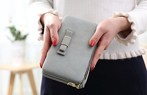 Katech Portafogli delle signore Borsa grande capacità di del moda multifunzione Wristlet Custodia Telefono caso per iPhone 7/6 / 6s, Samsung Galaxy S6 / S6 Edge o altri telefoni cellulari Grey