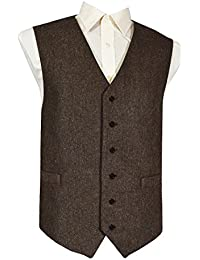 Lloyd Attree & Smith Men's Classic Wool Handle Waistcoat, Brown Fleck Tweed