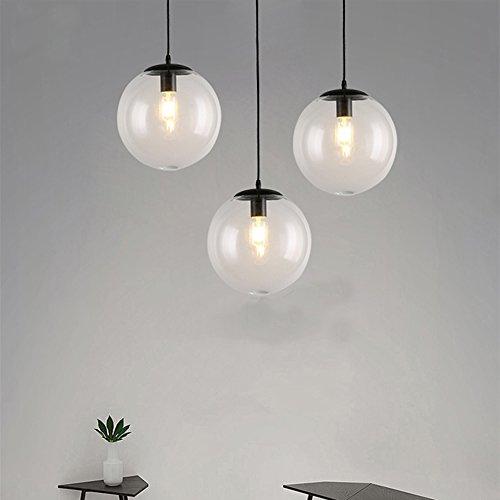 Easy Game - E27 industriales clara Cristal Bola Pelota lámpara colgante de 1 luz moderna cocina Apertura - Lámpara de techo (φ20)