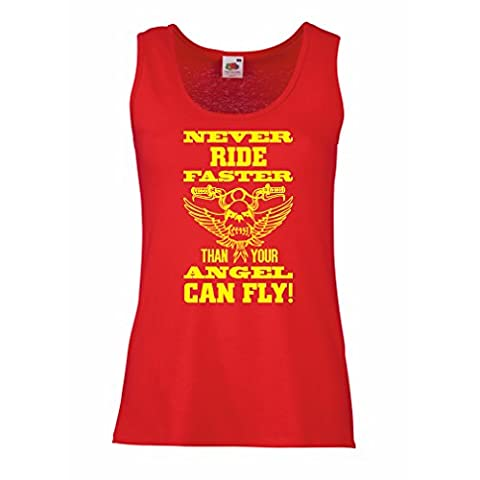 Female Tank top The rider and the angel art motorcycle apparel (Small Red Multi Color)