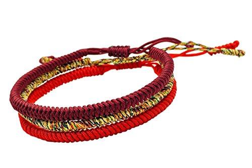 2a11ba3047 Home   Shop   Buddhism   Bracelets   Tibetan Buddhist Handmade Lucky Knot  Rope Bracelet (Set of 3 – Red