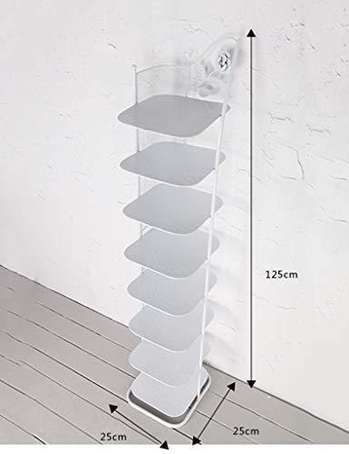 klein schmal schuhregal Metall weiß schwarz Für Stiefel-Balkon-Eingangs-Eckeingang 3 Bis 6 Reihen-stapelbares Regal (Farbe : Weiß, größe : 8 Tier)