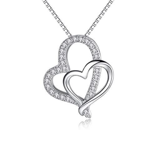 RED TREE Halsketten für Frauen, Herz zu Herz Gestaltete Herzkette Silber 925, Doppel Herz Anhänger Halskette, Design Implikation - Ich Werde Immer Bei Dir Sein (#2)