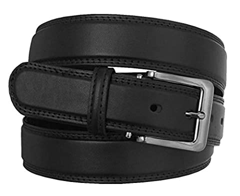 MEN'S STYLISH PLAIN LEATHER TROUSER BELT: Made by FOREST BELT Co : BLACK : BROWN : UP TO 56