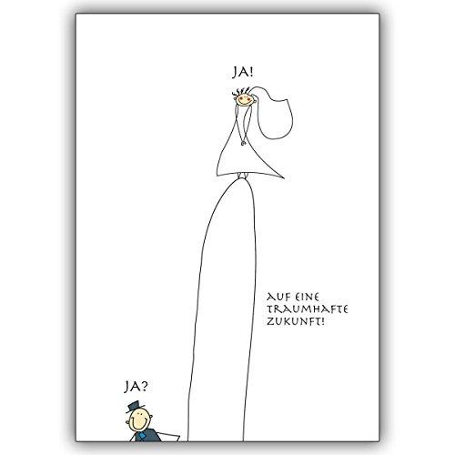 stige Hochzeitskarte mit Brautpaar Ja? Ja!: Auf eine traumhafte Zukunft! ()