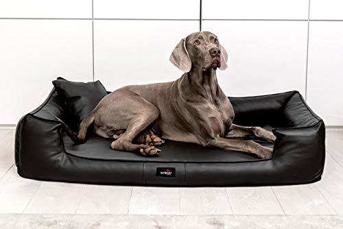 tierlando® G4-L-03 Orthopädisches Hundebett Goofy VISCO Anti-Haar Kunstleder Hundesofa Hundekorb Gr. L 110cm Schwarz Ortho