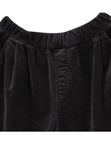 Youlee Frauen-elastische Taille Corduroy Hose mit Taschen Schwarz