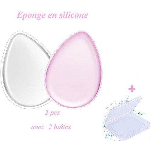 Eponge Silicone ECBASKET Beauté Eponge Maquillage Applicateur Réutilisable Avec 2 Boîte Maquillage Impeccable