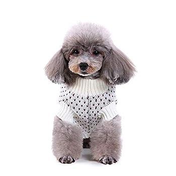 Chiot Chiens Vêtements,Animal de Compagnie Chien Chat Hiver Chaud Empreinte Pull Manteau Costume vêtements,Manteau Habits pour Chien (M, Blanc)