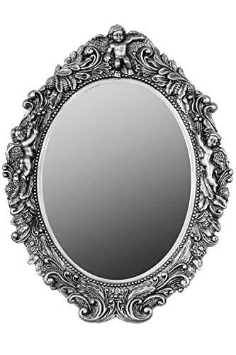 elbmöbel Spiegel barock Wandspiegel oval mit Engel Badspiegel (Silber)