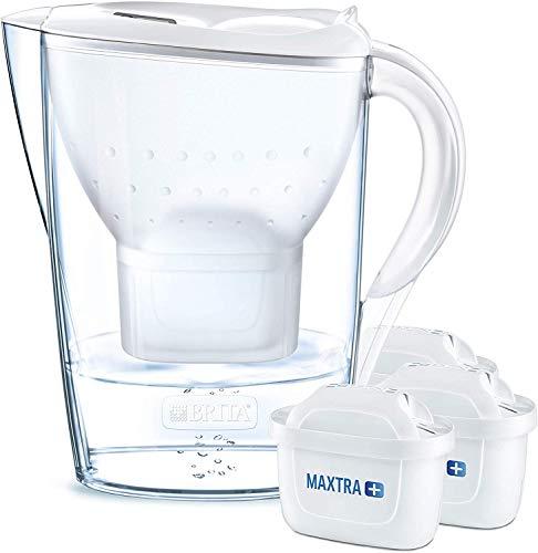 BRITA Wasserfilter Marella weiß inkl. 3 MAXTRA+ Filterkartuschen - BRITA Filter Starterpaket zur Reduzierung von Kalk, Chlor & geschmacksstörenden Stoffen im Wasser